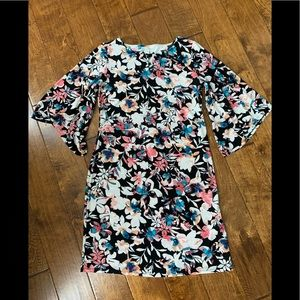 Dana Buchman fun colorful floral shift dress small